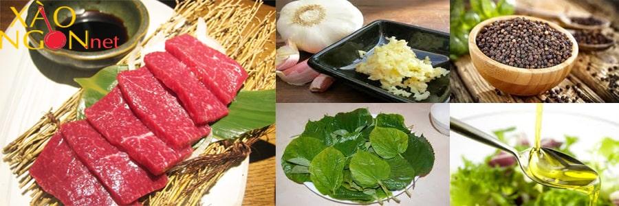 Nguyên liệu làm món thịt ngựa xào lá lốt