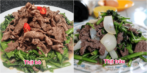 Thịt trâu khi nấu nở ra và không có mùi hoặc mùi nhẹ