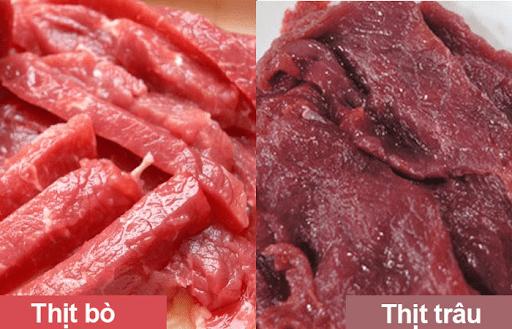Thịt trâu màu đỏ đậm và đường gân ít mỡ hơn