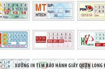 Xưởng in tem bảo hành decal giấy giá rẻ tại Quận Long Biên