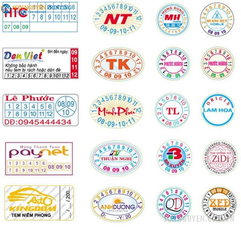 Các loại tem bảo hành decal giấy có tại Sơn Nguyên
